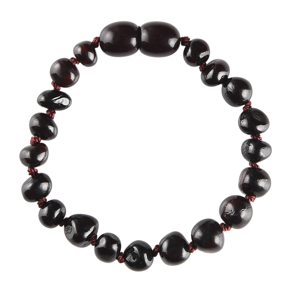 Baltic Amber Baby Bracelet - Polished Dark Cherry