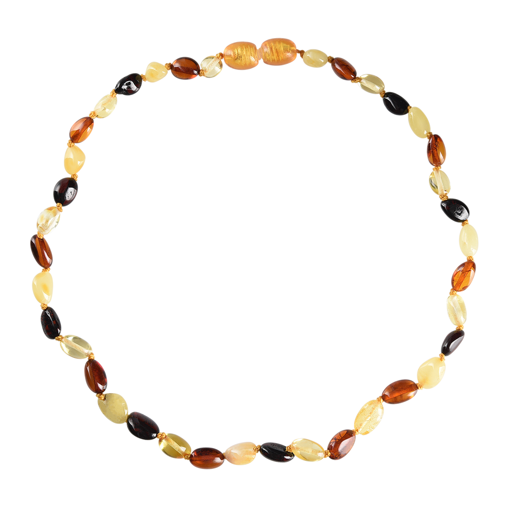 Baltic Amber Baby Necklace - Polished Multicolor Bean