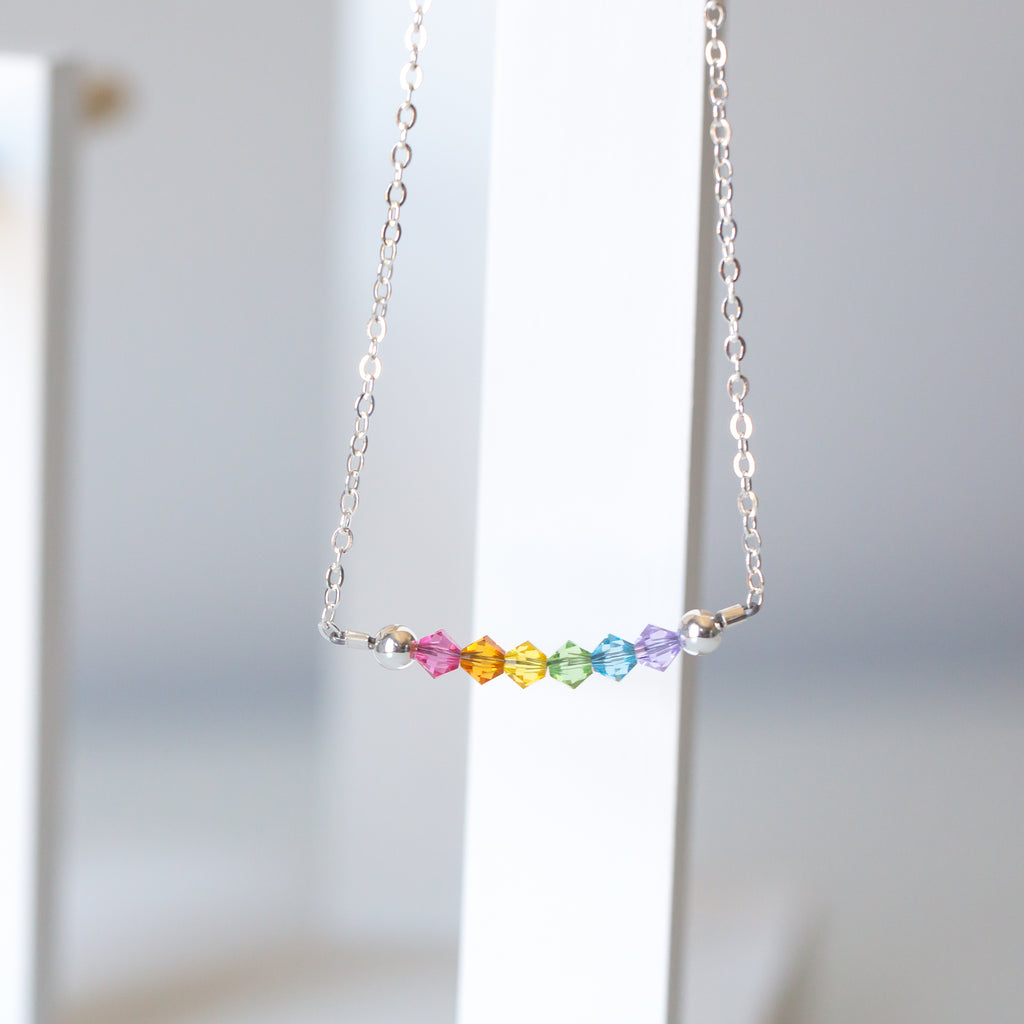 Pastel Crystal Rainbow Necklace