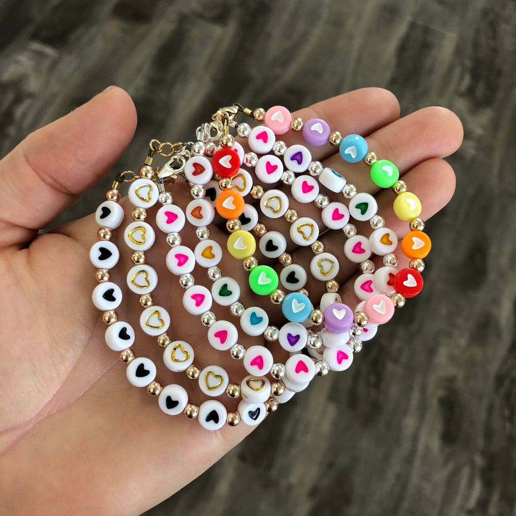 Hearts add-on for letter bead bracelets