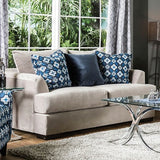 Beige Velvet Love Seat with Pillows