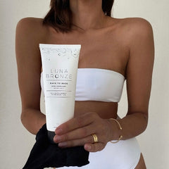 Jess Metni using our Back To Base Body Exfoliant and Exfoliating Glove