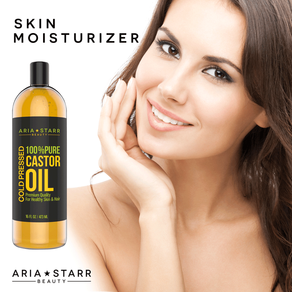 Aria Starr Castor Oil Cold Pressed - 16 FL OZ - BEST 100% Pure Hair Oil For Hair Growth, Face, Skin Moisturizer, Scalp, Thicker Eyebrows And Eyelashes