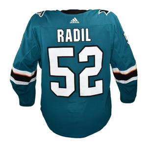 Game Used Pro Teal Sharks Jersey - Lukas Radil #52