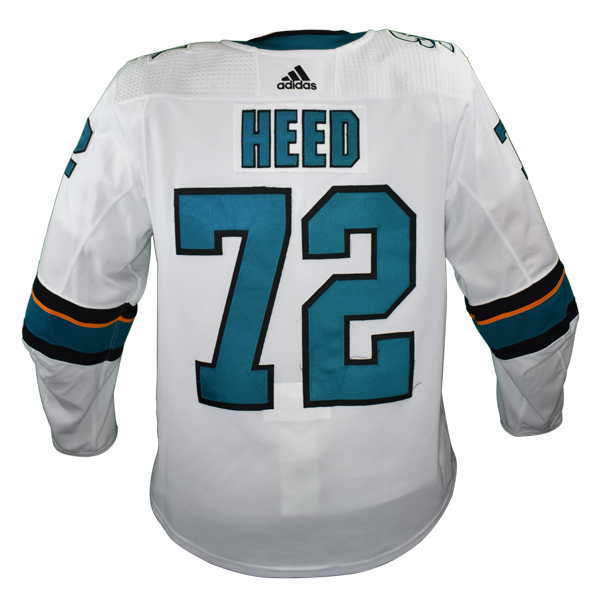 Game Used Pro White Sharks Jersey - Tim Heed #72