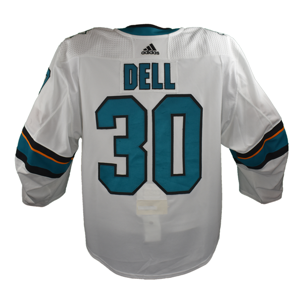 Game Used Pro White Sharks Jersey - Aaron Dell #30
