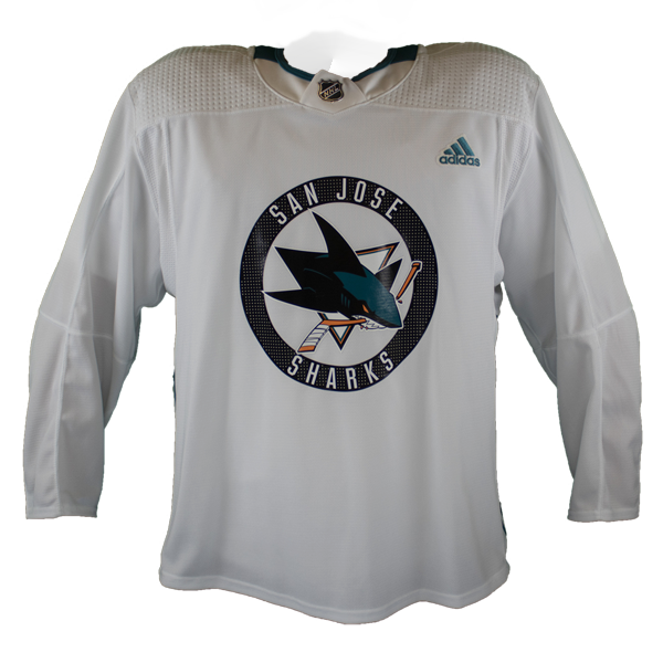 Slightly Worn Sharks Pro Stock Practice Jersey White