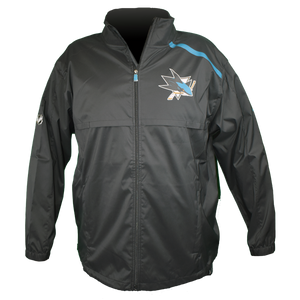 Fanatics Sharks On-Ice Full Zip Rink Jacket w/ Teal Stripe
