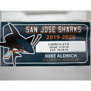 Game Used Pro White Sharks Jersey - Trevor Carrick #47