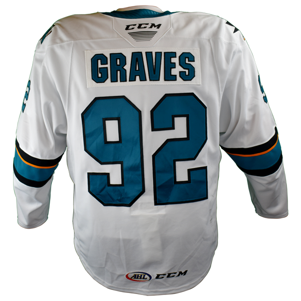 Game Used Pro Barracuda White Jersey-Jacob Graves #92