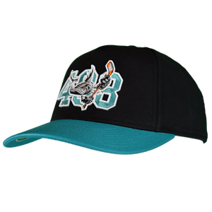 Barracuda 408 Black/Teal Fitted Hat