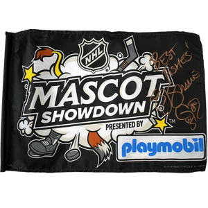 Signed SJ Sharkie 2019 All Star Game Mascot Showdown Stick Flag