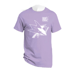 Sharks Hockey Fights Cancer Shirt Benefiting Camp Okizu, a camp for kids impacted by childhood cancer that was devastated by the North Complex Fire
