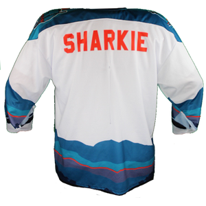 2019-20 SJ Sharkie Open Water one of a kind jersey.  Game Worn.