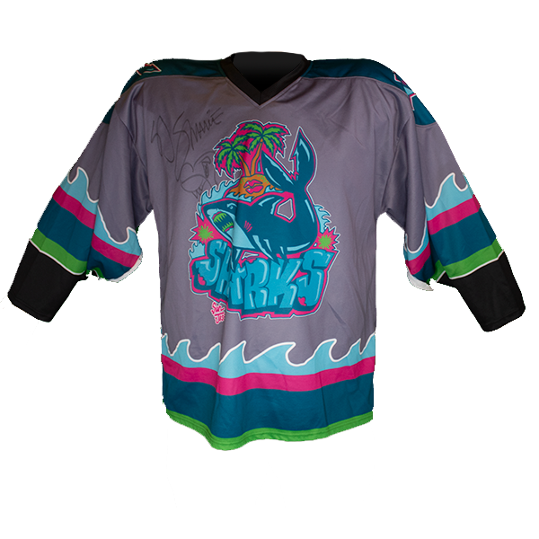 Signed One-of-a-Kind SJ Sharkie 2019-20 Graffiti Shark Game Worn Jersey