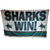 Signed One-of-a-Kind SJ Sharkie White Game Used SHARKS WIN! Flag