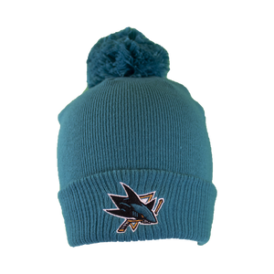 Adidas Sharks Teal Cuffed Knit Pom Teal Beanie