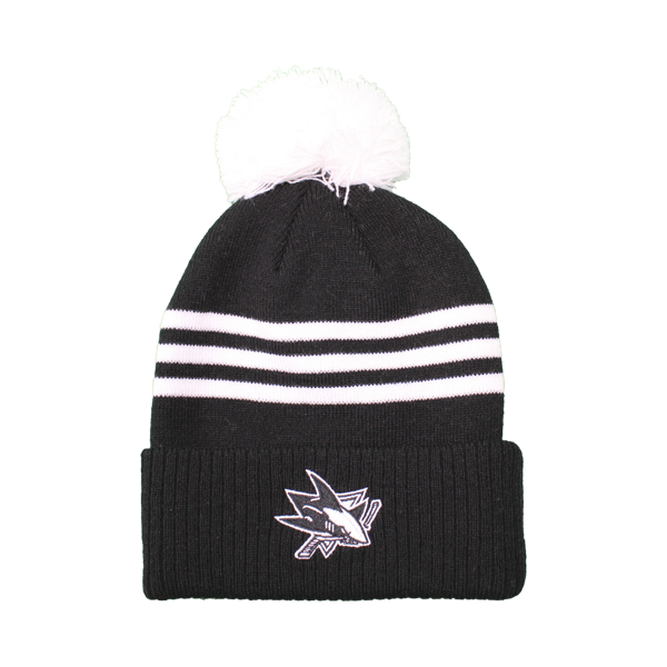 Adidas Sharks Black/White Cuffed Knit Pom Beanie