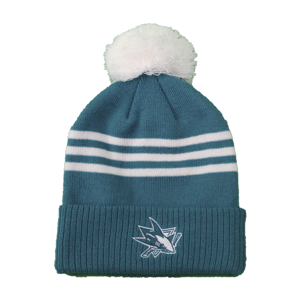 Adidas Sharks Teal/White Cuffed Knit Pom Beanie