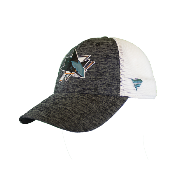 Fanatics Sharks Locker Room Gray/White Mesh Snapback Hat