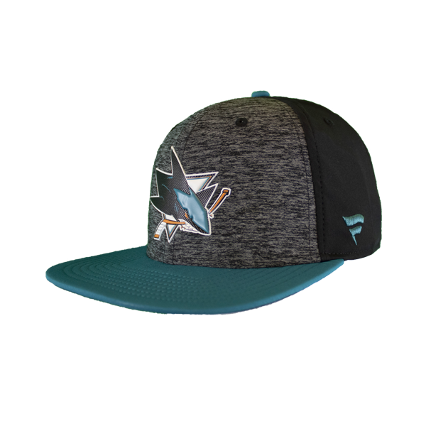 Fanatics Sharks Black/Teal Locker Room Adjustable Snap Back Hat