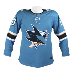 Adidas Sharks Chris Tierney Authentic Teal Jersey w/ Pro Lettering 75% Off