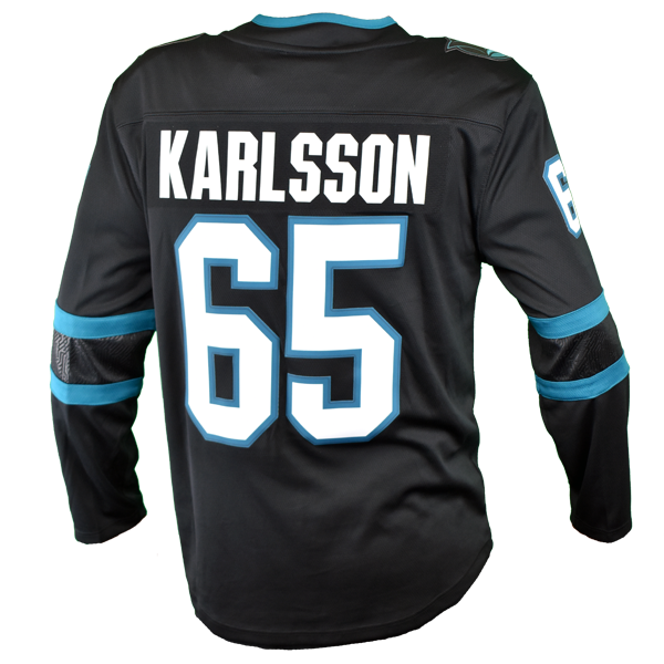 Fanatics Sharks Erik Karlsson Replica Black Stealth Jersey 40% Off