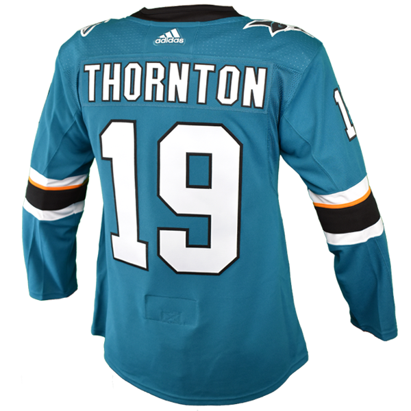 Adidas Sharks Joe Thornton Authentic Teal Jersey w/ Pro Lettering 40% Off