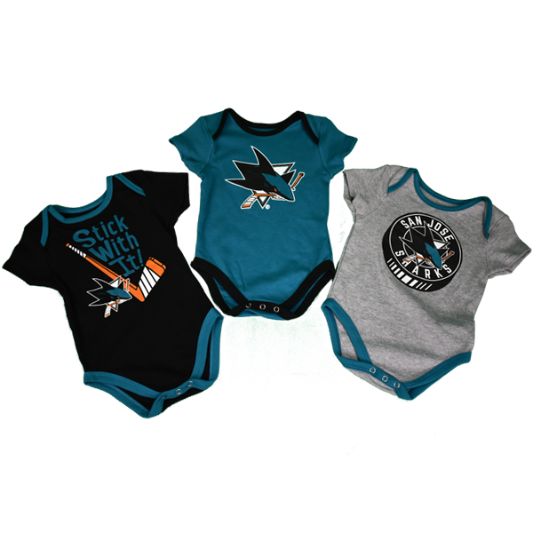 Adidas Sharks Cuddle Play 3-Pack Infant Creeper Set