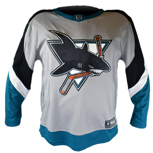 Fanatics Sharks Replica Gray Reverse Retro Jersey - Personalization Available