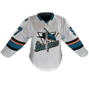 AA Jr. Sharks White Hockey Jersey Adult