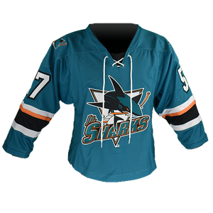 AA Jr. Sharks Teal Hockey Jersey Adult