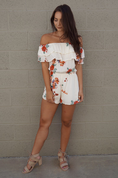 Ruffled Off The Shoulder Romper