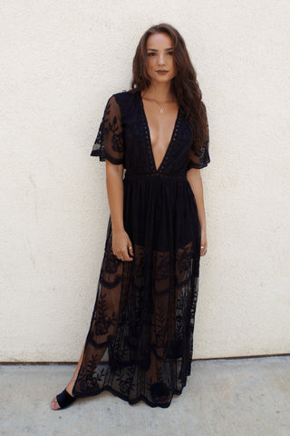 Deep V Lace Maxi Dress