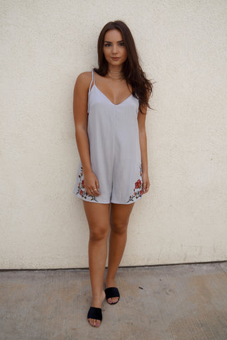 Embroidery Romper w/ Cut Out
