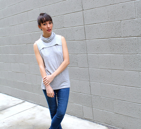 Sleeveless French Terry Turtle Neck Top