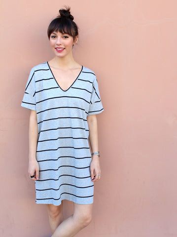Short Sleeve Stripe V-Neck Tunic