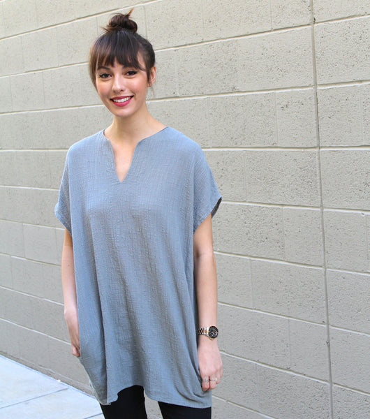 Short Sleeve Split Neck Tunic With Pocket