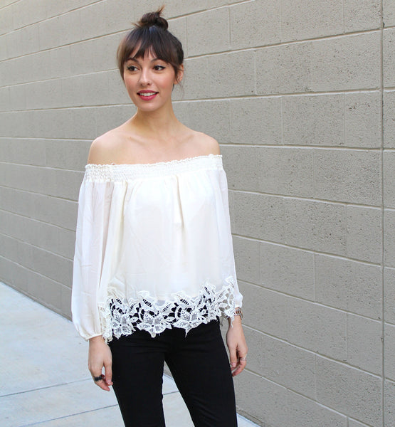 Smocked Off Shoulder Blouse
