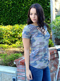 Camoflage Choker V Neck Top
