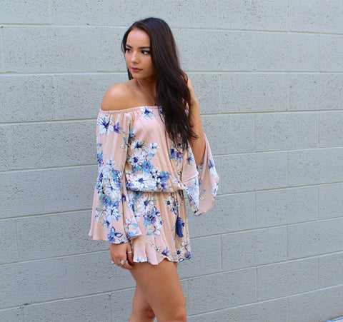 Off Shoulder Floral Tie Romper