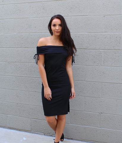 Off Shoulder Rib Side Slit Dress