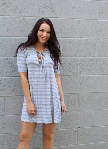 Short Sleeve Striped Lace Up Dress