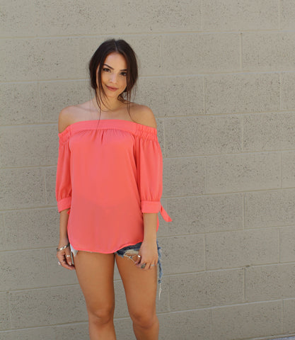 Off The Shoulder Chiffon Top
