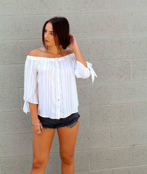 Off The Shoulder Button Woven