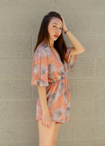 Apricot Ivy Flare Short Sleeve Romper
