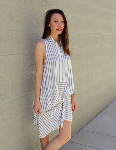 Sleeveless Stripe Tie Front Dress