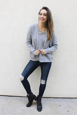 Willard Lace Up Sweater