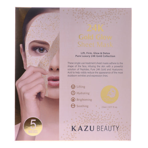24K Gold Glow Sheet Mask, 5 Masks