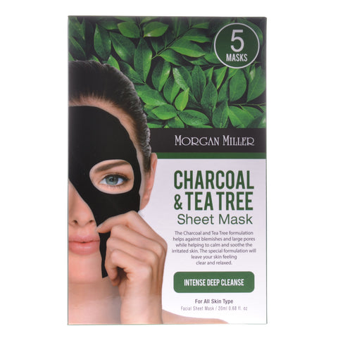 Charcoal & Tea Tree Sheet Mask, 5 Masks